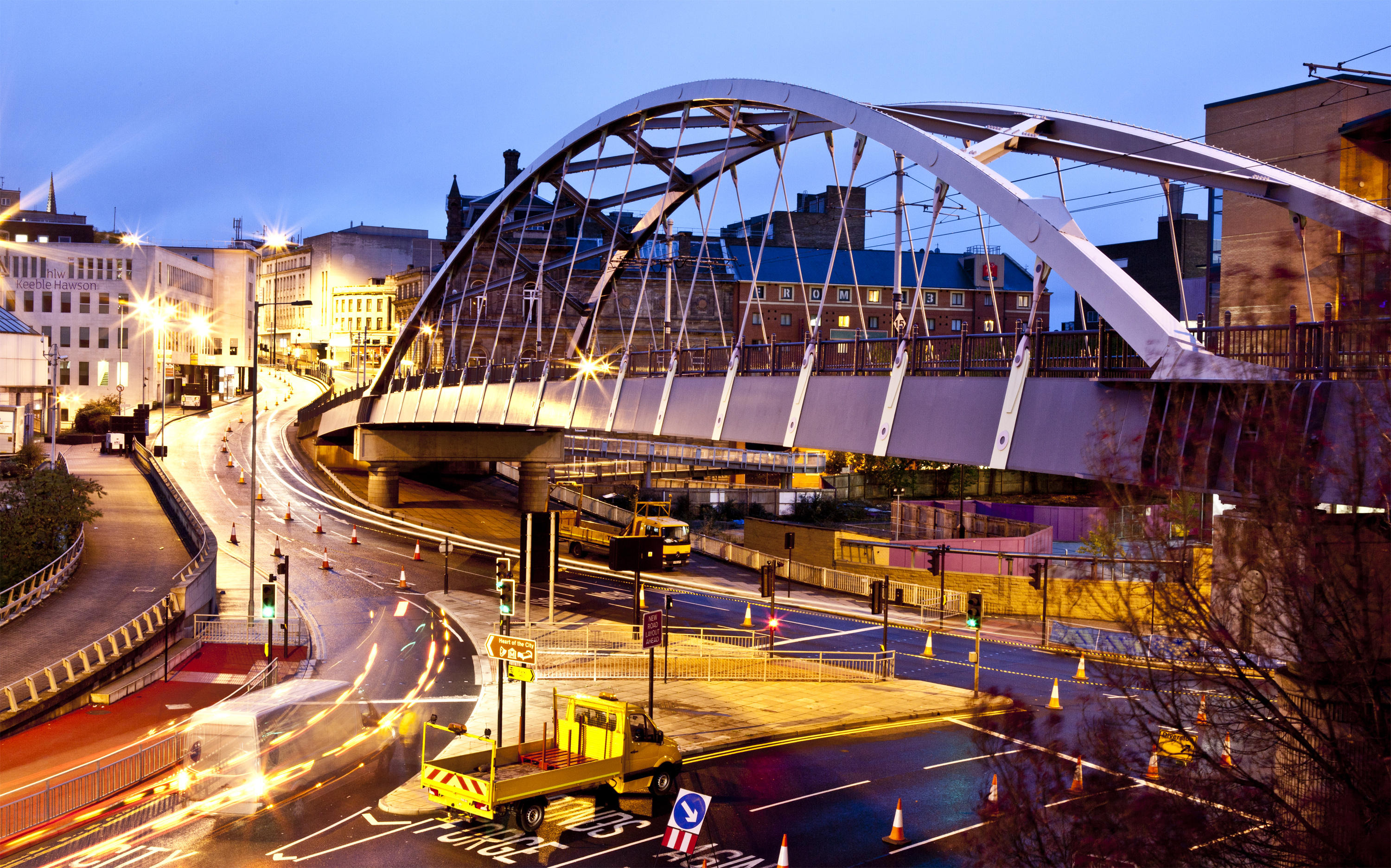 Sheffield Tram Bridge and lines by night